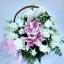 กระเช้าดอกไม้กุหลาบ-ลิลลี่ชมพู
