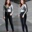 กางเกงยีนส์ขาเดฟเอวสูงไซส์ใหญ่สำหรับสาวอวบ สีดำ กระดุม 5 เม็ด มี SIZE 34 36 38 40