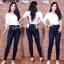 กางเกงยีนส์ทรงเดฟเอวสูง ยีนส์เข้ม สีกรมขัดด่างนิดๆ ผ้ายีนส์ยืดเนื้อดี มี SIZE S,M,L,XL