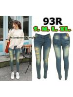 กางเกงยีนส์ขาเดฟ เอวต่ำ ขาดหน้าขาสวยมาก ผ้ายืด แบบซิป ยีนส์ฟอกนิ่มใส่สบาย มี SIZE S,M,L,XL