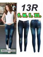กางเกงยีนส์ขาเดฟแฟชั่น เอวต่ำ ยีนส์ยืด สีฟอกสนิมเขียว ขาดหน้าขา มี SIZE S,M,L,XL