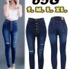 กางเกงยีนส์เอวสูง กระดุม 5 เม็ด สีเมจิก ฟอกขาว สะกิดขาดหน้าขาไล่ระดับ สวยฝุดๆ มี SIZE S,M,L