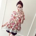 เสื้อผ้าฝ้ายลายดอกไม้สีชมพู