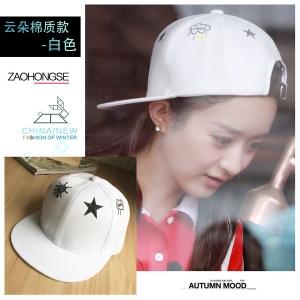 หมวกฮิปฮอป หมวก Hiphop ลายดาว สีขาว