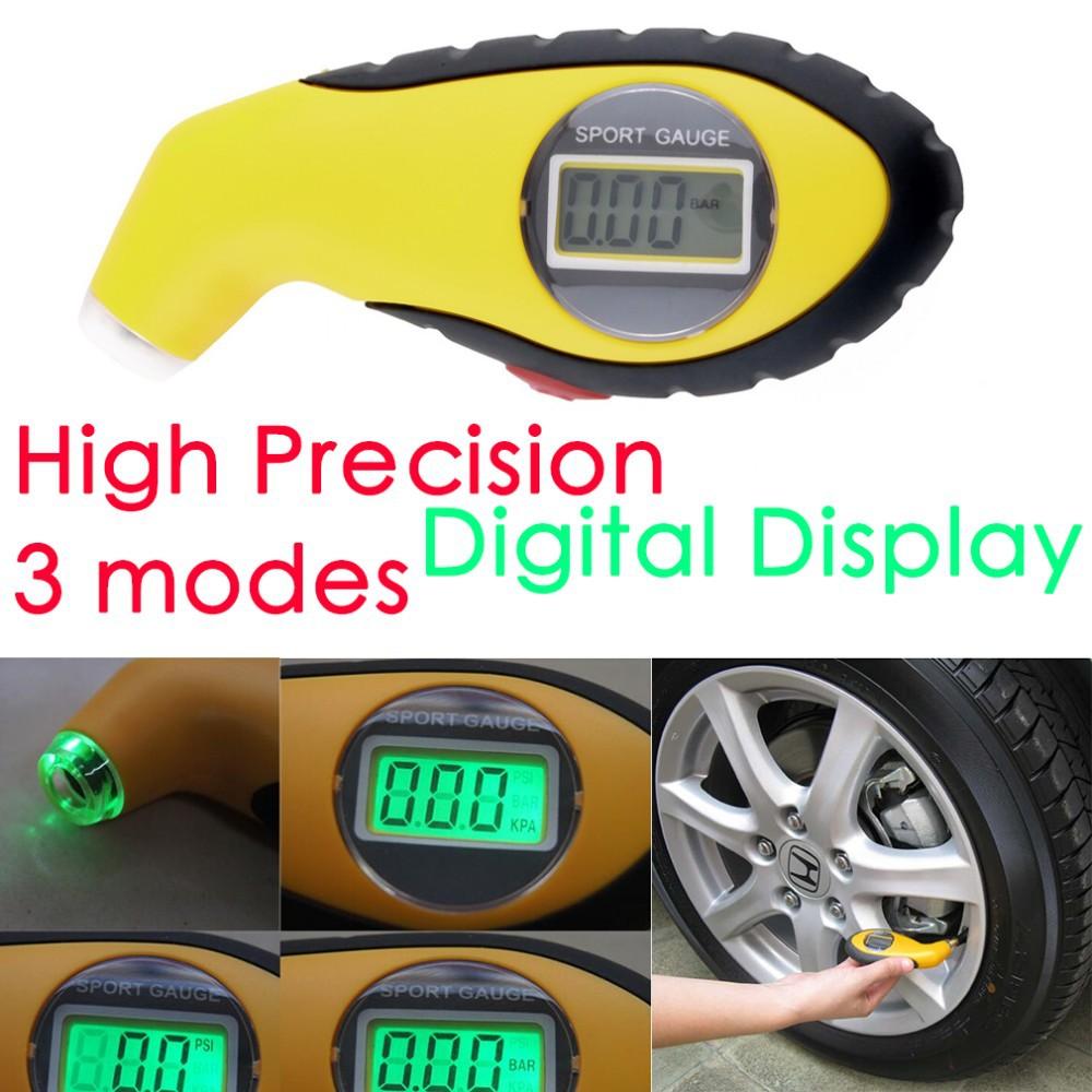 แบบส่งช้าLCD Digital Tire Tyre Air Pressure Gauge Tester Tool For Auto Car Motorcycle PSI, KPA, BAR