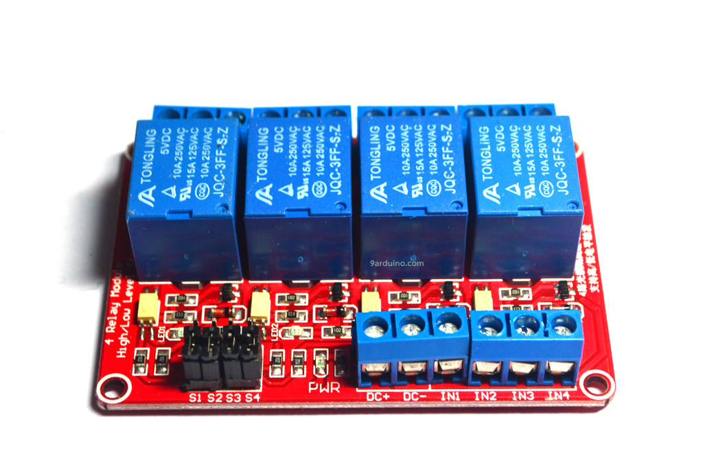 Module รีเลย์ Relay 5V 4 Channel (สีแดง) Isolation High And Low Trigger