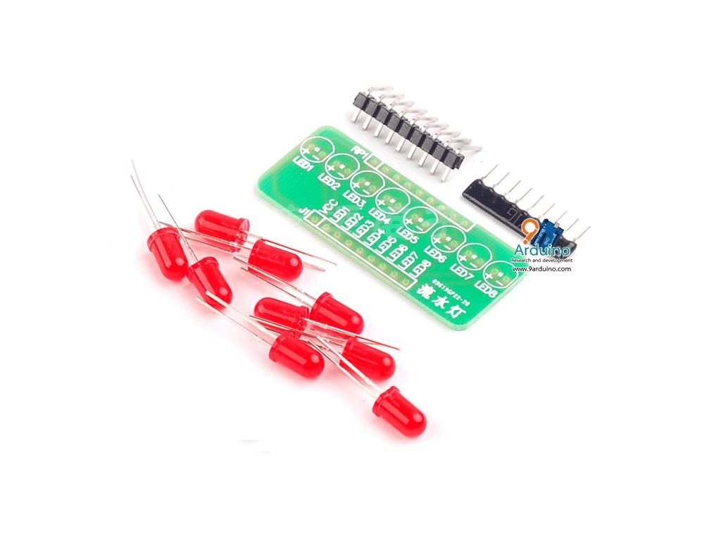 บอร์ดทดลอง LED 8 ดวง สำหรับ Arduino (ชุดคิดประกอบเอง)