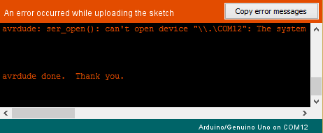 avrdude: ser_open(): can't open device