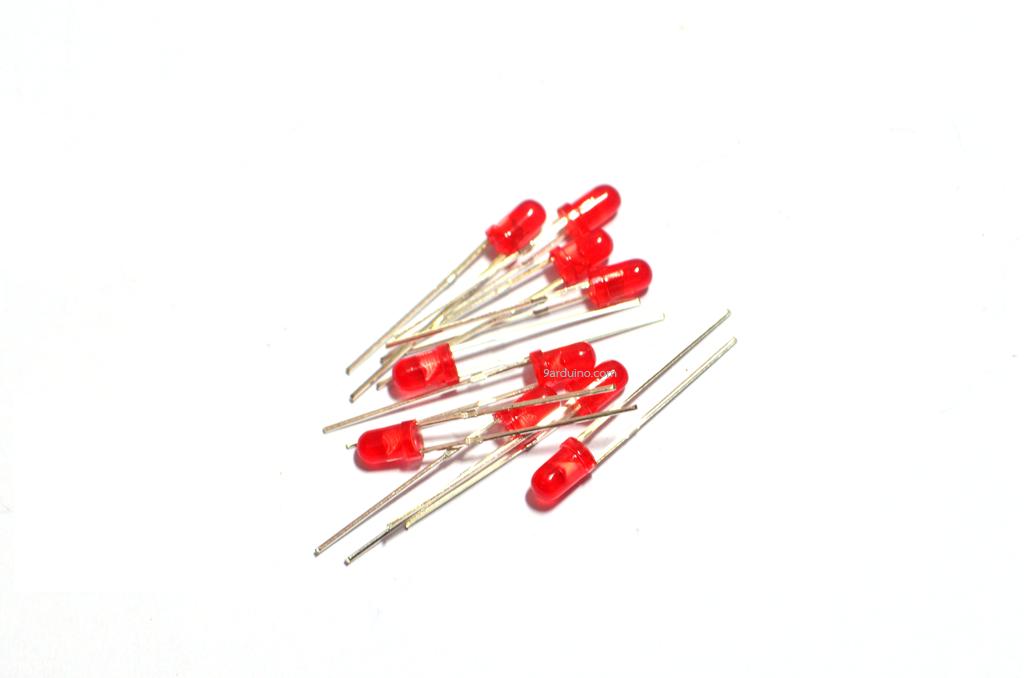 LED 3mm (สีแดง) จำนวน 10 หลอด