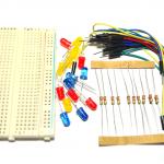 บอร์ดทดลอง Protoboard Breadboard 400 holes + สายไฟจั้มเปอร์คละขนาด + ตัวต้านทาง 220 Ohm + LED